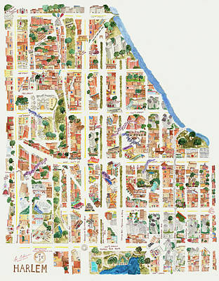Harlem Wall Art - Painting - Harlem Map From 106-155th Streets by Afinelyne