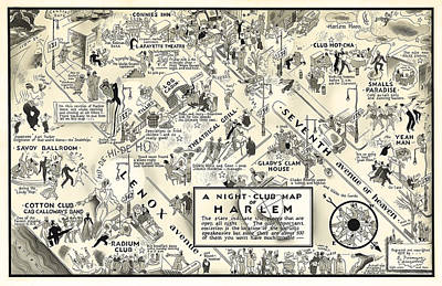Of Liquor Photograph - Harlem Prohibition Nightclub Map 1926 by Daniel Hagerman