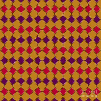 Digital Art - Harlequin Gold Purple Coral by Methune Hively