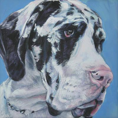 Great Dane Puppy Painting - harlequin Great Dane by Lee Ann Shepard