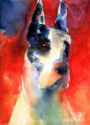 Watercolor Pet Portraits Painting - Harlequin Great Dane Watercolor Painting by Svetlana Novikova