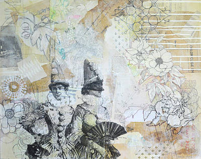 Image Transfer Mixed Media - Harlequins by Donna Stubbs