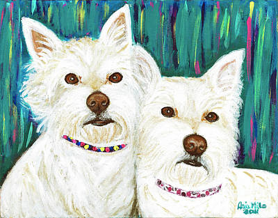 Ania M Milo Dog Painting - Harley And Tidus West Highland Terriers by Ania M Milo