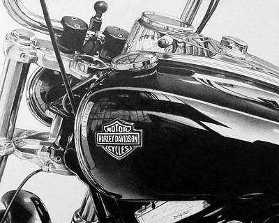 Drawing - Harley Davidson Motorcycle by Becky West