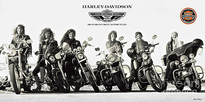 Harley Davidson, 100 Years Of Great Motorcycles, And The Cool Women Who Ride Them Art Print by Thomas Pollart