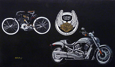 Painting - Harley Davidson 105th Anniversary by Richard Le Page