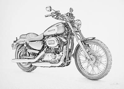 Automotive Drawing - Harley Davidson 1200 Custom by Regan Peters