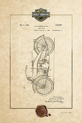 Digital Art - Harley-davidson 1924 Vintage Patent Document With 3d Badge by Serge Averbukh