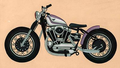Antique Miniature Painting - Harley - Davidson ,antique Vintage by A K Mundra