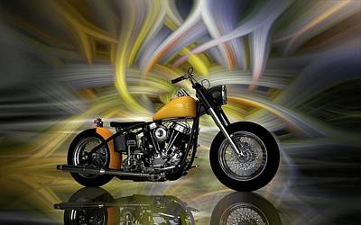Digital Art - Harley Davidson Custom Bike by Louis Ferreira