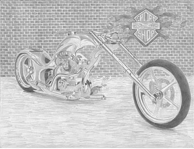 Chopper Drawing - Harley-davidson Custom Chopper Motorcycle Art Print by Stephen Rooks
