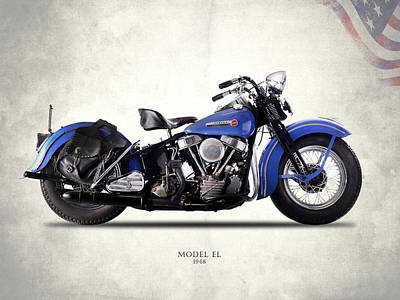 Antique Photograph - Harley-davidson El 1948 by Mark Rogan