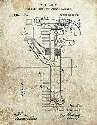 Drawing - Harley Davidson Exhaust Manifold by Dan Sproul