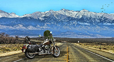 Harley Davidson Heritage Motorcycle On The Doorstep Of The Rockies, Colorado Art Print by Thomas Pollart