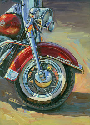Painting - Harley-davidson Heritage Softail by Lesley Spanos