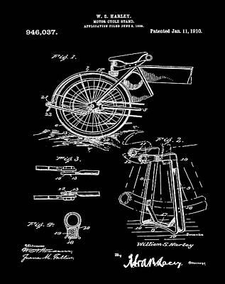 Harley Davidson Digital Art - Harley Davidson Kickstand Patent 1910 In Black by Bill Cannon