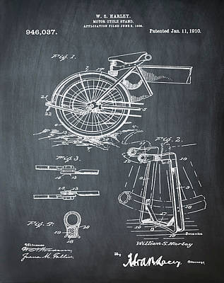 Harley Davidson Kickstand Patent 1910 In Chalk Art Print by Bill Cannon