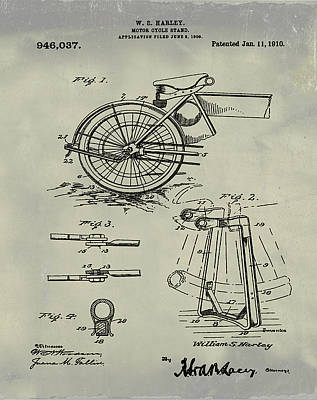 Bike Drawing - Harley Davidson Kickstand Patent 1910 Weathered by Bill Cannon