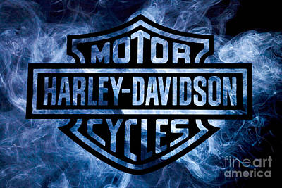 Transportation Royalty-Free and Rights-Managed Images - Harley Davidson Logo Blue by Randy Steele