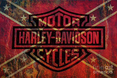 Transportation Royalty-Free and Rights-Managed Images - Harley Davidson Logo Confederate Flag by Randy Steele
