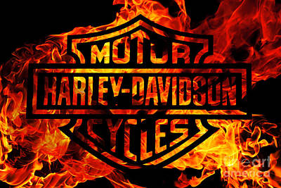 Flaming Digital Art - Harley Davidson Logo Flames by Randy Steele