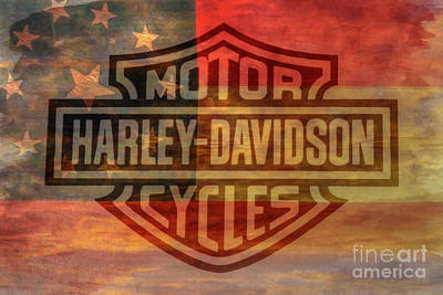Digital Art - Harley Davidson Logo Old Confederate Flag by Randy Steele