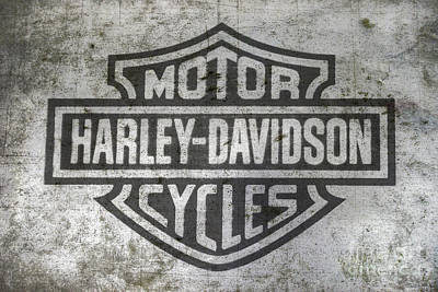 Harley Davidson Logo On Metal Art Print by Randy Steele