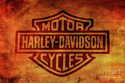 Digital Art - Harley Davidson Logo Orange Smoke by Randy Steele