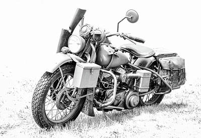 Photograph - Harley Davidson Military Motorcycle Bw by Athena Mckinzie
