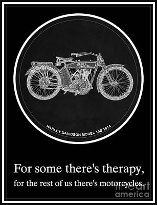 Bike Drawing - Harley Davidson Model 10b 1914 Motorcycle Quotes by Pablo Franchi