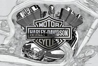 Digital Art - Harley-davidson Motorcycle Engine Detail With 3d Badge  by Serge Averbukh