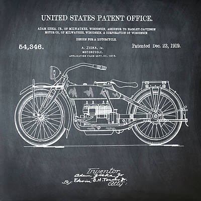 Harley Davidson Motorcycle Patent 1919 In Chalk Art Print by Bill Cannon