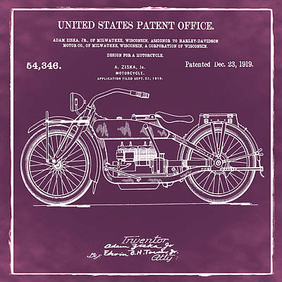 Bike Digital Art - Harley Davidson Motorcycle Patent 1919 In Red by Bill Cannon
