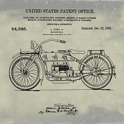 Sepia Chalk Drawing - Harley Davidson Motorcycle Patent 1919 Weathered by Bill Cannon