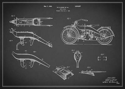 Photograph - Harley Davidson Motorcycle Patent 1924 by Mark Rogan