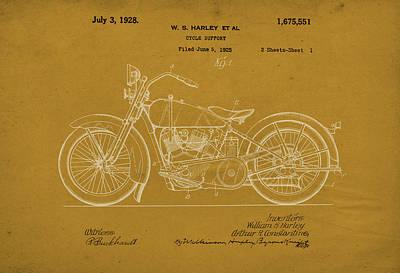 Digital Art - Harley Davidson Motorcycle Patent by David Holm