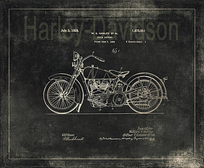 Photograph - Harley - Davidson Motorcycle Patent Drawing - Graphite by Maria Angelica Maira