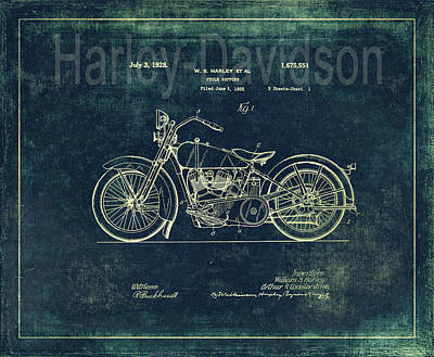 Photograph - Harley - Davidson Motorcycle Patent Drawing In Blue by Maria Angelica Maira