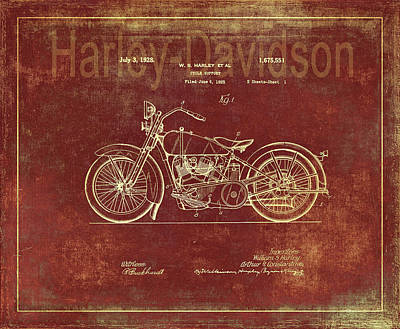 Photograph - Harley - Davidson Motorcycle Patent Drawing by Maria Angelica Maira