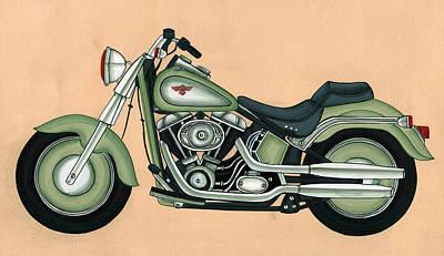 Antique Miniature Painting - Harley - Davidson Old Byke, Antique Vintage, Artwork India by A K Mundra