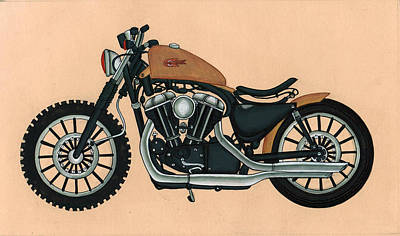 Antique Miniature Painting - Harley - Davidson Old Bykes,antique Vintage by A K Mundra