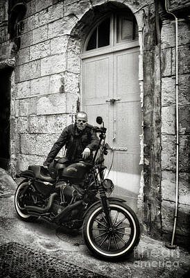 Valletta Photograph - Harley Davidson Outside The Garage by Stephan Grixti