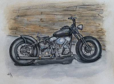 Painting - Harley-davidson Panhead 1950 by Kelly Mills