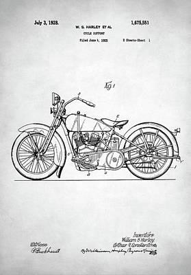 Retro Digital Art - Harley Davidson Patent by Taylan Apukovska