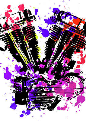 Digital Art - Harley Davidson Pop Art 3 by Ricky Barnard