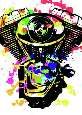 Digital Art - Harley Davidson Pop Art 5 by Ricky Barnard