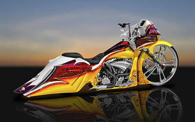 Photograph - Harley Davidson Road Glide Custom  -  Hdroadgliderflct9508 by Frank J Benz