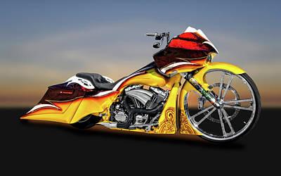 Harley Davidson Road Glide Custom Bagger Motorcycle  -  Hdrdglide9506 Art Print