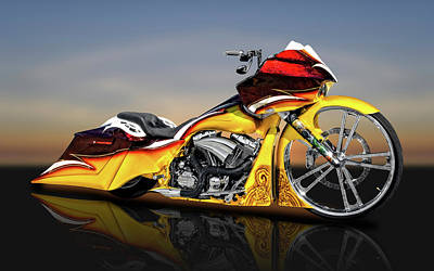 Photograph - Harley Davidson Road Glide Custom Bagger Motorcycle  -  Hdrdglreflect9506 by Frank J Benz
