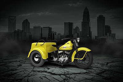Harley Davidson Service Car 1942 City Art Print by Aged Pixel